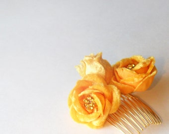 Yellow Flower Hair Clip, Yellow Roses, Inventory Sale