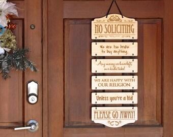 No Soliciting - Custom Laser-Engraved Wood Door Hanging