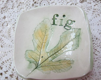 Fig Leaf Ceramic Dish Kitchen and Dining Decor