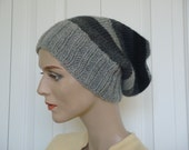 Hand Knit Hat Slouch Hat For Women or Men Mix Colors Wool Hat Fall Fashion Winter Fashion --- Ready to Ship