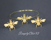 For Him and Her - Bee  , Gold Bangle, Brass Bangle, Bee Cuff , Bee Cuflinks,gold cufflinks