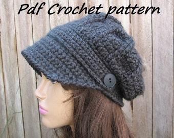 CROCHET PATTERN - Crochet  Newsboy Hat, Crochet Pattern PDF,  Winter accessories, Slouchy hat, Crochet Patterns
