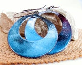 Blue enamel hoop earrings large