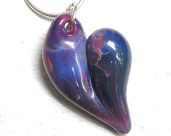 Lampwork Focal Bead Heart Necklace, Hand Blown Boro Glass Jewelry,  Purple Passion