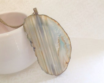 Aqua Agate Slice Necklace. Minimalist. Natural Glass. Statement Jewelry. Vintage Brass Chain. Nautical. Beach. Long Necklace. Boho. Summer.