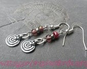 Rustic spiral amulet charm earrings with purple & silver beads. Fibonacci nickel-free Bohemian hippie pagan Pixie nature boho