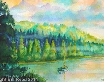 Morning At The Lake - original watercolor painting