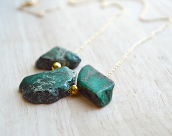 Green and Gold  Stone Necklace Natural Cut Jasper