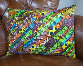 Pillow Cover Patchwork - African Wax Print - 12 x 16
