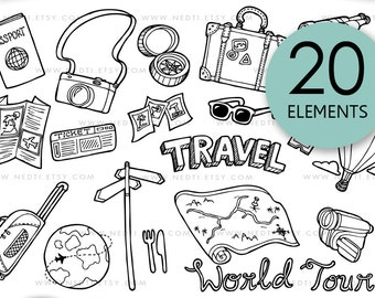 Travel Doodle Clip Art, PNG, Instant Download, Traveling Clipart, Vacation, Holiday, Map, Tour, Hand Drawn Digital, Logo Design, Nedti