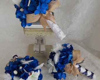 Starfish Wedding Bouquet, Seashell Bridal Bouquet, Mens Boutonniere, Blue and White Wedding Bouquet