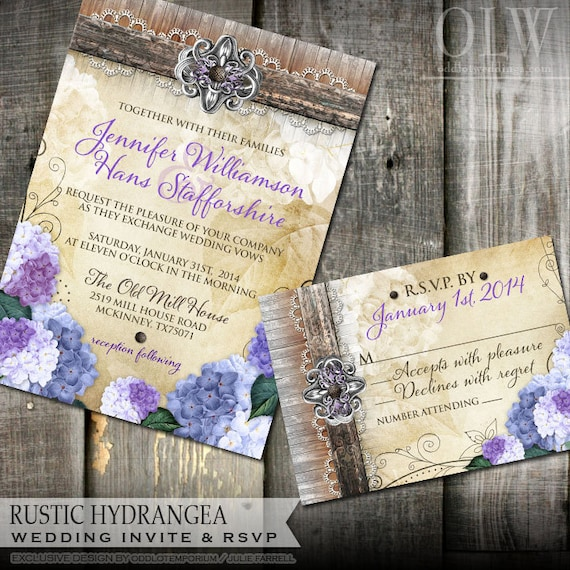 Rustic Hydrangea Wedding Invitation and RSVP stationery Rustic Wedding Invitation DIY Rustic Floral Wedding Invite Printable Invitation