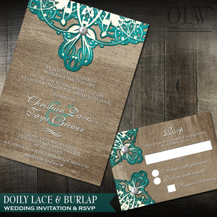 Rustic Wedding Invitation Burlap Doily Lace And RSVP