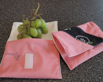 snack bag with appel fruits fabric  reusable fruit bag