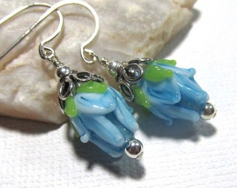 Dangle Drop Earrings - Lampwork Long Rose Bud - Aqua Blue - Sterling Silver Ear Hooks (Z-1)