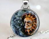 Sun and Moon Pendant, Sun and Moon Necklace, Sun and Moon jewelry, Sun and Moon Charm, Silver (PD0150)