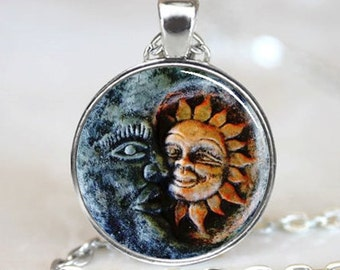 Sun and Moon Pendant, Sun and Moon Necklace, Sun and Moon jewelry, Sun and Moon Charm, Silver (PD0150)