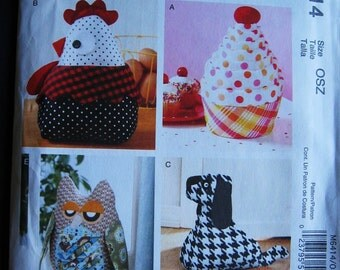 McCalls Crafts Door Draft Stopper Sewing Pattern M6414 UC Uncut FF Rooster  Cupcake Owl Dog