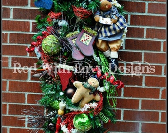 Old Time Lighted Christmas Wreath, Christmas Wreath, Wreath, Holiday Wreath