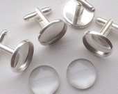 SALE - Combo- 18mm  -  24 pc Round Silver platted -  Bezel cufflink Blank with Glass tile inserts -  Cadmium free