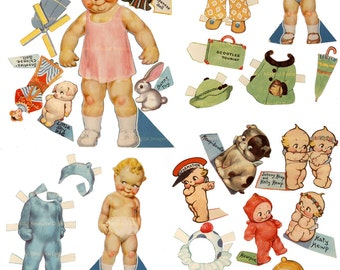 Kewpie Paper Dolls Baby Printable SET for instant download Scootles 1939 Tourist Set 3 Paper Dolls 26 Costumes Digital Paper Doll Party Kit