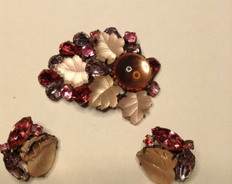 Pink and Purple Flower Brooch and Earrings   Item No: 16864