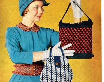 1950s Coats & Clark's Quick Tricks Crochet and Knit Patterns Purse Handbag Dolls Toys Slippers Bib Basket Collar Vintage Retro Design
