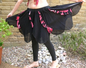 Faery festival or belly dance costume pixie petal ruffle skirt. Repurposed boho gypsy clothing in black red for eco alternative style