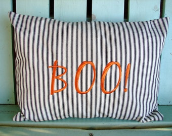 12x16 Boo stripe Halloween monogram pillow -machine embroidered- Holiday- decorative pillow cover-gifts under 40-throw pillow-accent pillow