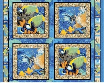 Animal under water sea ocean coral reef pillow panel - cotton - fabric - BT Panel - wild - new - blue - turtle - quilt - sew