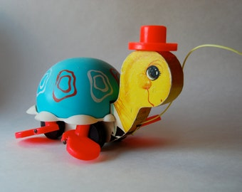 Vintage Fisher Price Pull Toy, Tip Toe Turtle