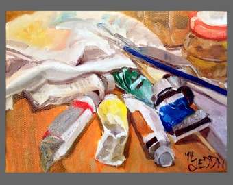 Still Life Oil Painting : The Studio Table - Original Painting by Jeddin White