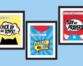 Superhero Children's Bedroom Rules Art Prints - Set of 3 - Kid's DIY Printable Instant Download