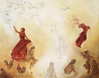 Original Music, Movement, Dance Birds Painting - Acrylic on canvas