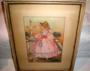 Vintage Watercolor Signed By Artist Laura Skorat Poepsel