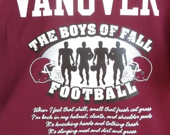 Custom Personalized Unisex The Boys of Fall Football T-Shirt in Most Team Colors Sizes S-4XL