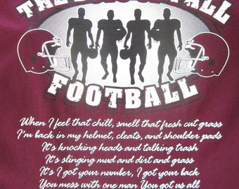 Custom Personalized Unisex The Boys of Fall Football T-Shirt w/ Player # Available in Most Team Colors in Sizes  S-4XL