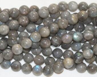 "Labradorite 12mm Smooth Round Gemstone Beads - 15.50"" Strand"
