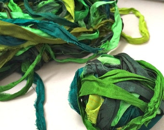 10 yd Recycled Sari Silk Ribbon Multishaded Greens Tassel Supply Dreamcatcher Garland Fair Trade Sari Wrap Bracelet Fiber Art Supply