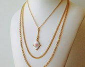 Gold Trio Cameo Layered Necklace