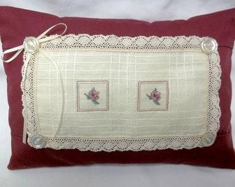 Rose Pillow Cross Stitch Cottage Chic