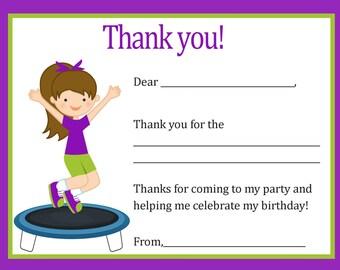 Trampoline Birthday Thank You Card (Girl)  Digital file - You print / Trampoline Thank You Card