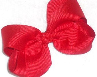 "Red Bow Valentine Red Hair Bow Red Baby Bow Headband Red Holiday Bow Red Hair Clip School Bow-4"" Medium Boutique Bow-Newborn Infant Toddler"
