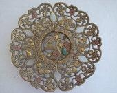 Vintage Judaica filigreed and carved brass plate, Israel export