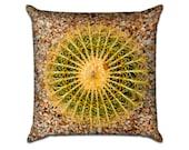 "Pin Cushion Round Cactus - Original Photo Sofa Throw Pillow Envelope Cover for 18"" inserts"