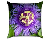 """Purple Passion Flower - Original Photo Sofa Throw Pillow Envelope Cover for 18"""" inserts"""