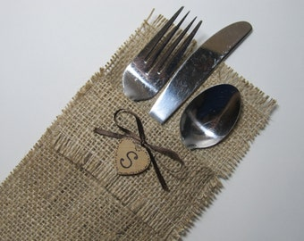 Rustic Burlap Silverware Holders - Set of 5 - Personalized for your Country Wedding