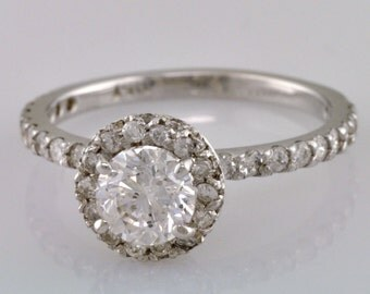 Antique 1.79 Carat EGL Round Cut Diamond Wedding Engagement Ring 14k White Gold