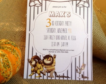 Where the Wild Things Are - Custom Invitation and Thank You Card Set