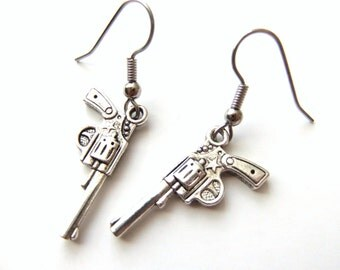 Silver Revolver Earrings, Pistol Gun Jewelry, Gun Earring